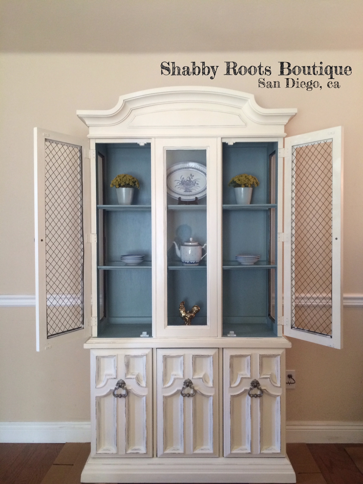 Antique shabby chic China Cabinet  Shabby Roots Boutique