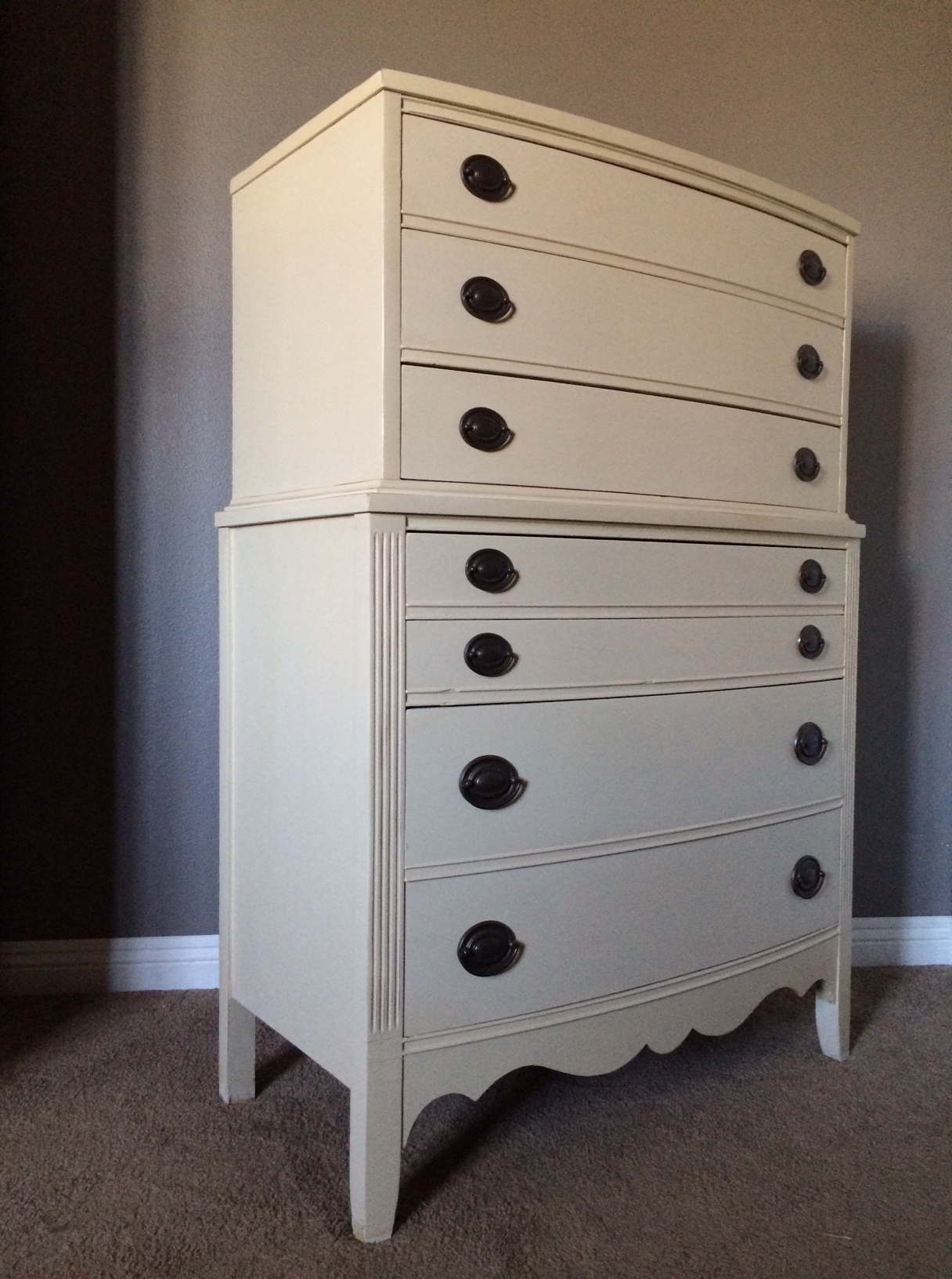 Dixie vintage tall boy dresser  Shabby Roots Boutique