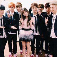 SNSD's TaeYeon snapped a group photo with the Bangtan Boys