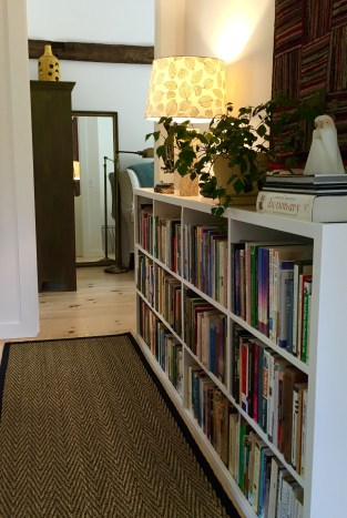 hallway with bookcase