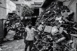 """""""This is my house. You can take picture but don't give it to the newspaper. Abba says our work is illegal."""" Mustafabad has multiple small medium enterprises which are illegal by means. They burn motherboards to extract precious metals like gold, platinum and silver."""