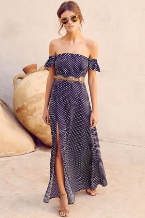 DREAM LOVE NAVY BLUE POLKA DOT OFF-THE-SHOULDER MAXI DRESS