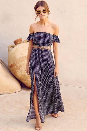DREAM LOVE NAVY BLUE POLKA DOT OFF-THE-SHOULDER MAXI DRESS