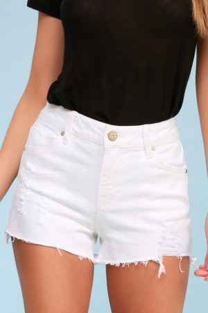 Stella White High Waisted Distressed Denim Shorts