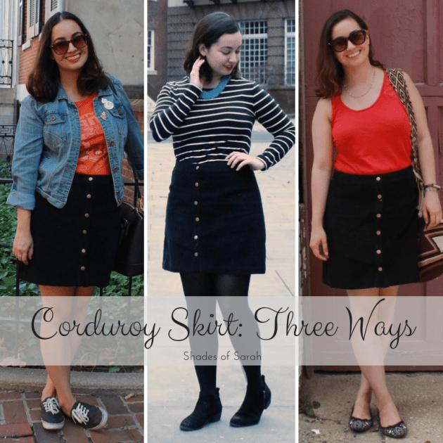 Corduroy Skirt Three Ways