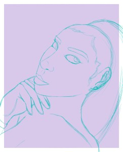 Initial sketch for digital painting process
