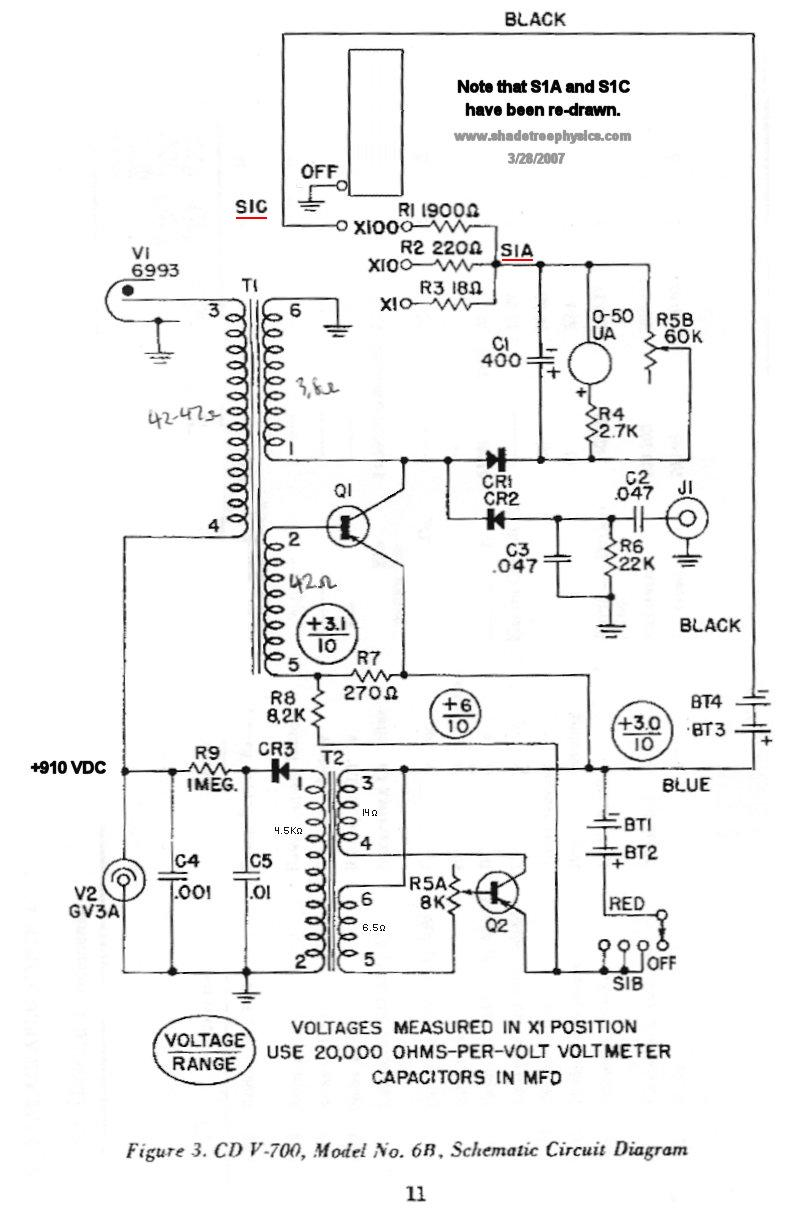 Schematic for Victoreen CD V-700 Geiger Counter