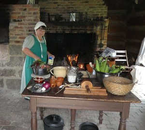 The kitchen in the cabin with the cook