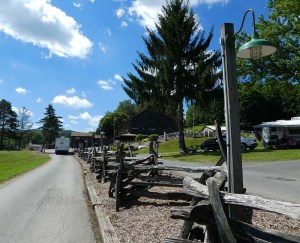 This road, like several in the park is lined with a weathered split rail fence