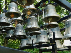 Bronze bells hung on the frame of the carillion.
