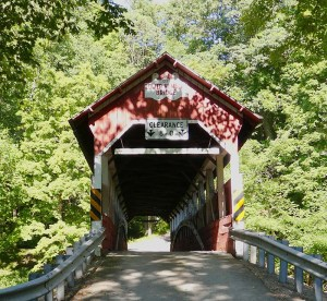 Entrance to the covered bridge