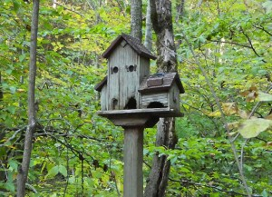 A birdhouse in the woods designed to look like an old mill house