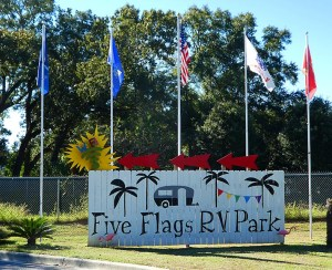 Entrance sign to the Five Flags RV park