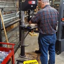 Jon using the drill press at Rockler