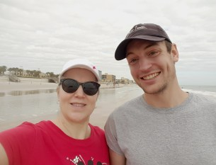 Mom and son enjoying a day at the beach