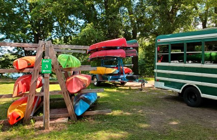 Canoes ready to hit the river