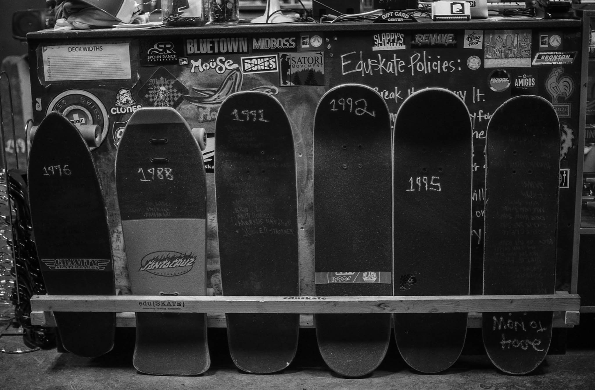 A display at Eduskate showing the evolution of the skateboard 1976-today