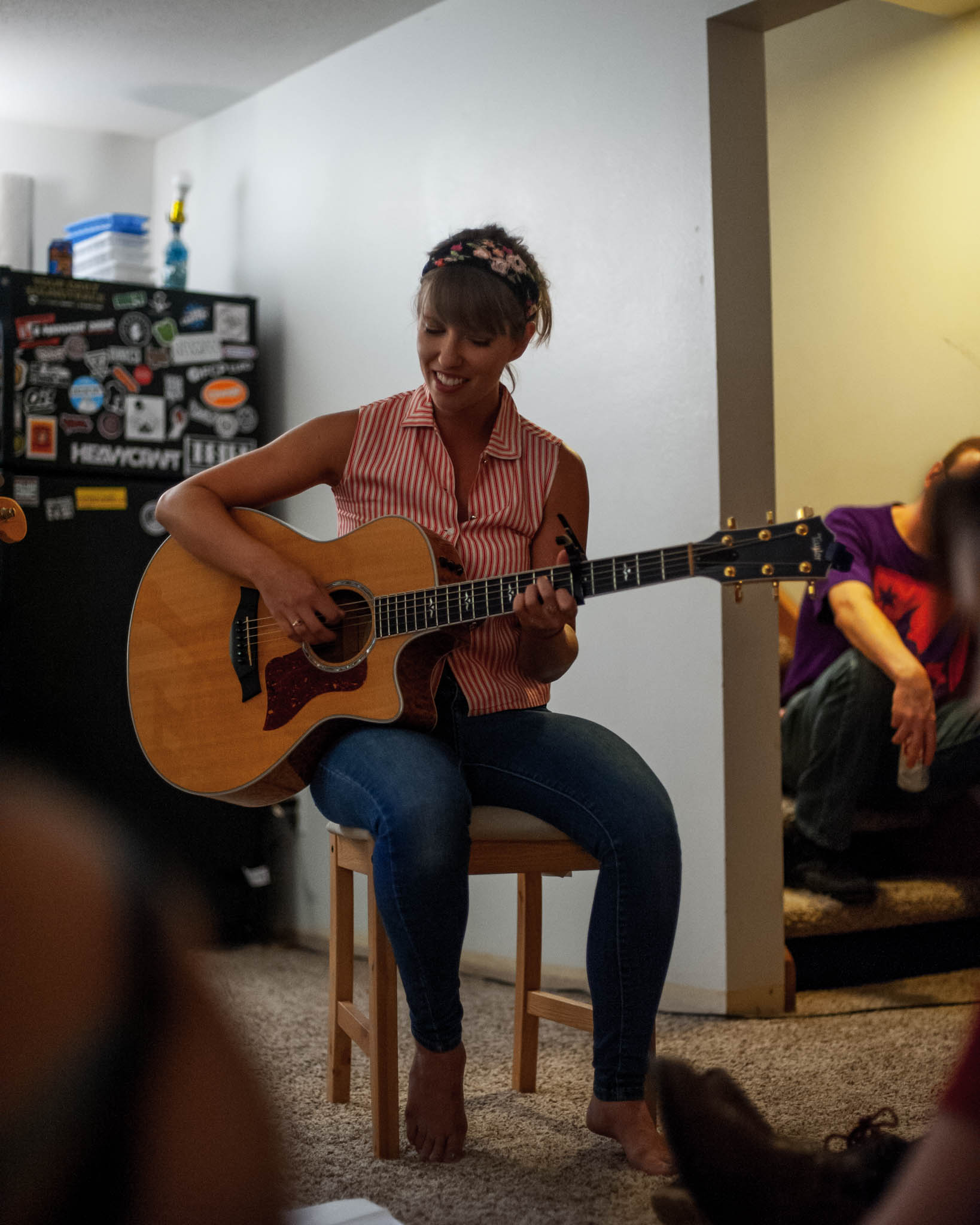 Fawn Larson playing at our house show in Cedar Rapids, Iowa