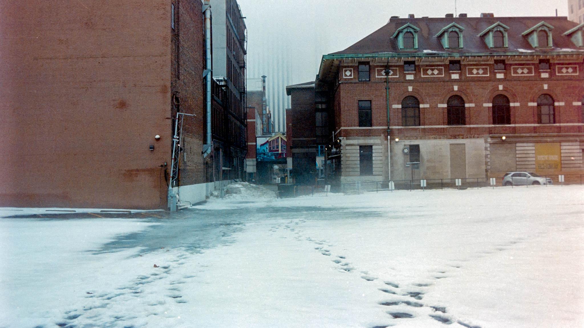 Downtown Cedar Rapids on a foggy winter day. Camera: Nikon N2020 with Fujifilm Superia 400