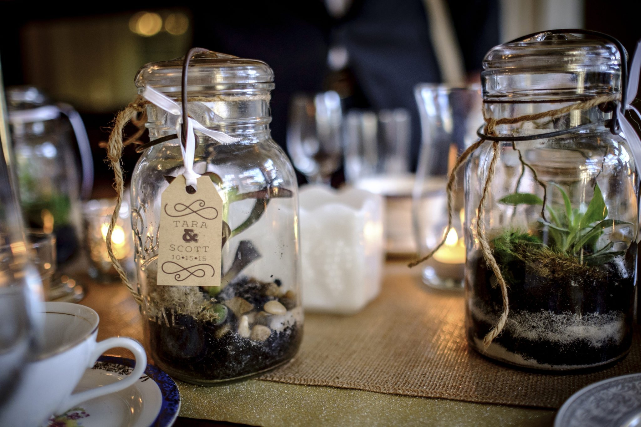 Photo of handmade centerpieces from a wedding