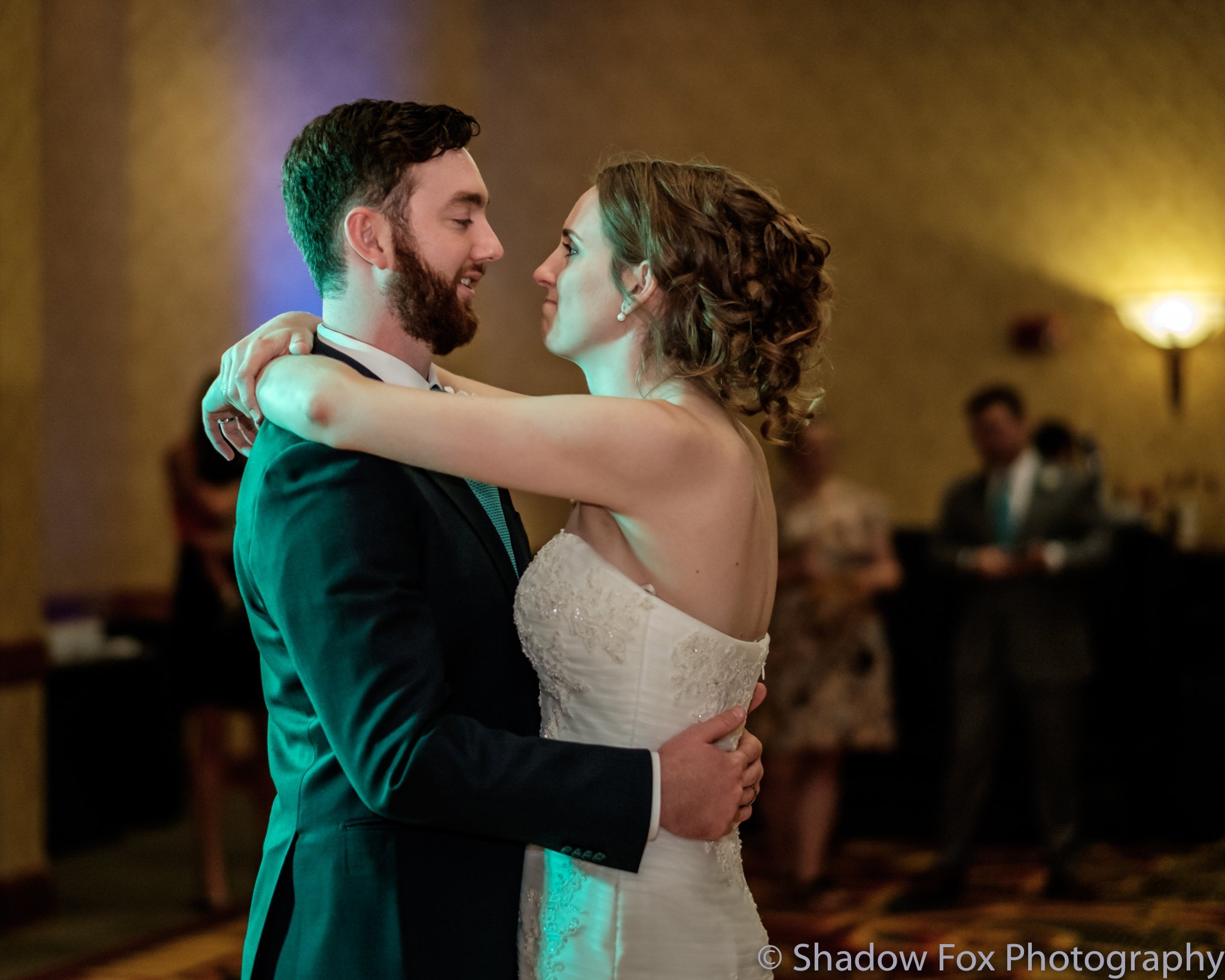 Newly married couple has first dance at wedding reception
