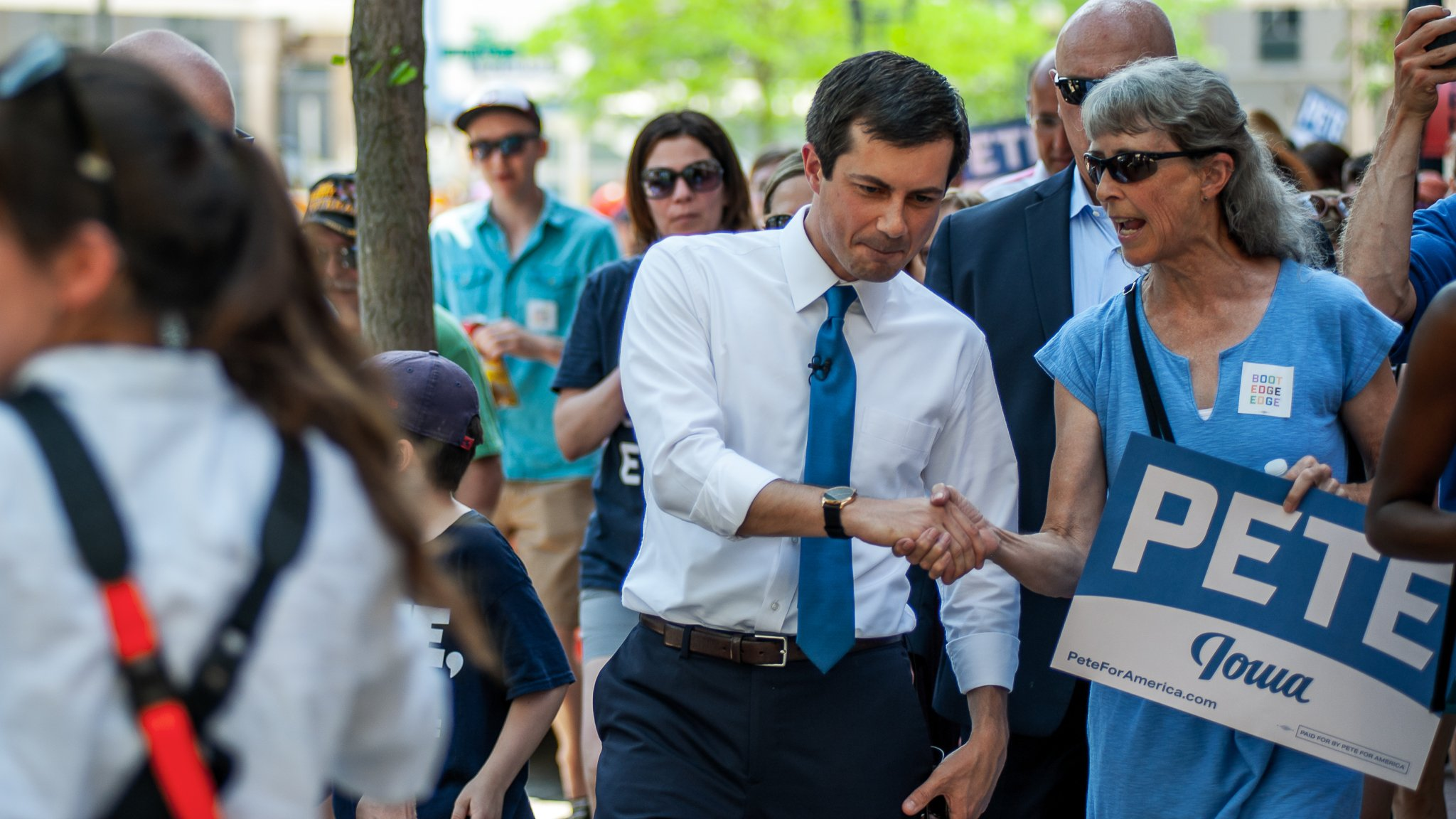 South Bend, Indiana Mayor Pete Buttigieg shaking hands at a campaign event in Cedar Rapids, Iowa