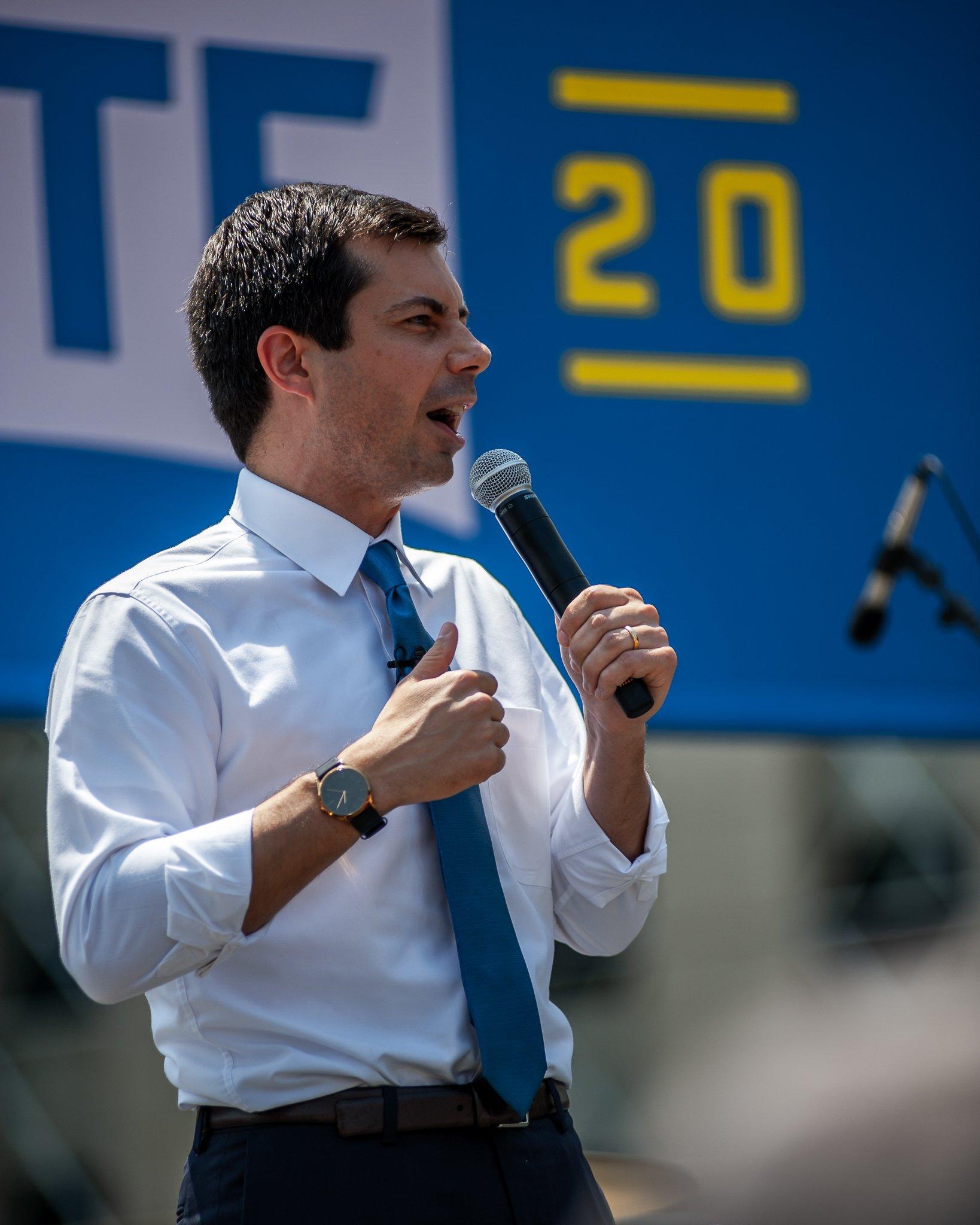 Pete Buttigieg, 2020 presidential candidate, at a campaign event in Cedar Rapids, Iowa