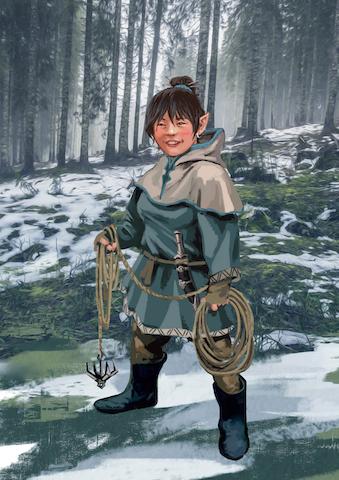 Iria, ejemplo de raza Gnomo y de clase explorador.