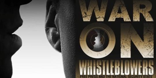 "Still from Brave New Films' ""War On Whistleblowers"""