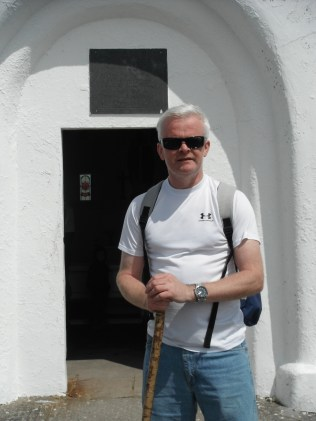 Fr Cathal Deery, Clones, Co Monaghan, outside the church on Croagh Patrick