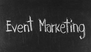 EVENT MARKETING written on blackboard background high resolution