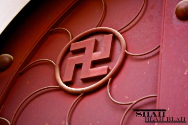 Sacred swastika symbol at Kek Lok Si, Southeast Asia's largest Buddhist temple, located in Penang.