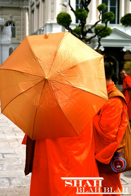 Buddhist monks conversing at The Grand Palace in Bangkok, one of the most visually stunning places I have ever been to!