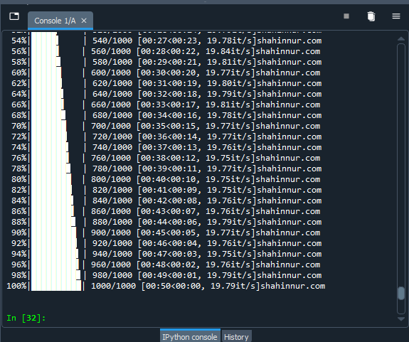 progress bar using tgdm and python