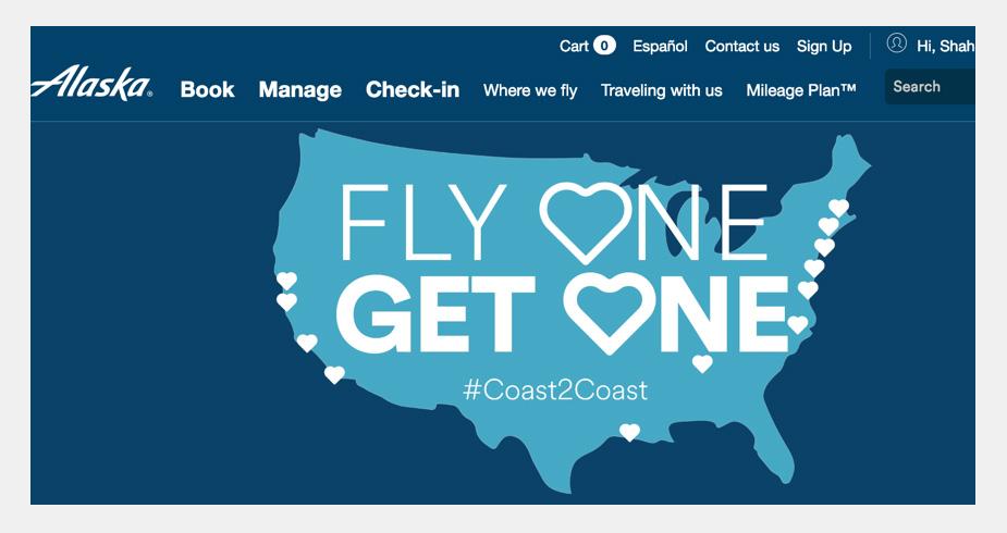 Alaska Airlines Cheap Flights BOGO sale offer Step 1