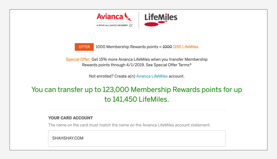 How to transfer American Express Membership Rewards to Avianca LifeMiles Step 5