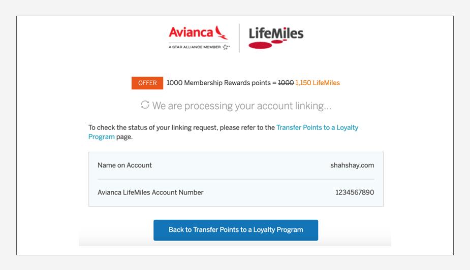 How to transfer American Express Membership Rewards to Avianca LifeMiles Step 7