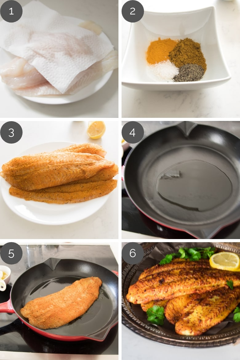 Basa fish fillets recipe preparation shots showing step by step process