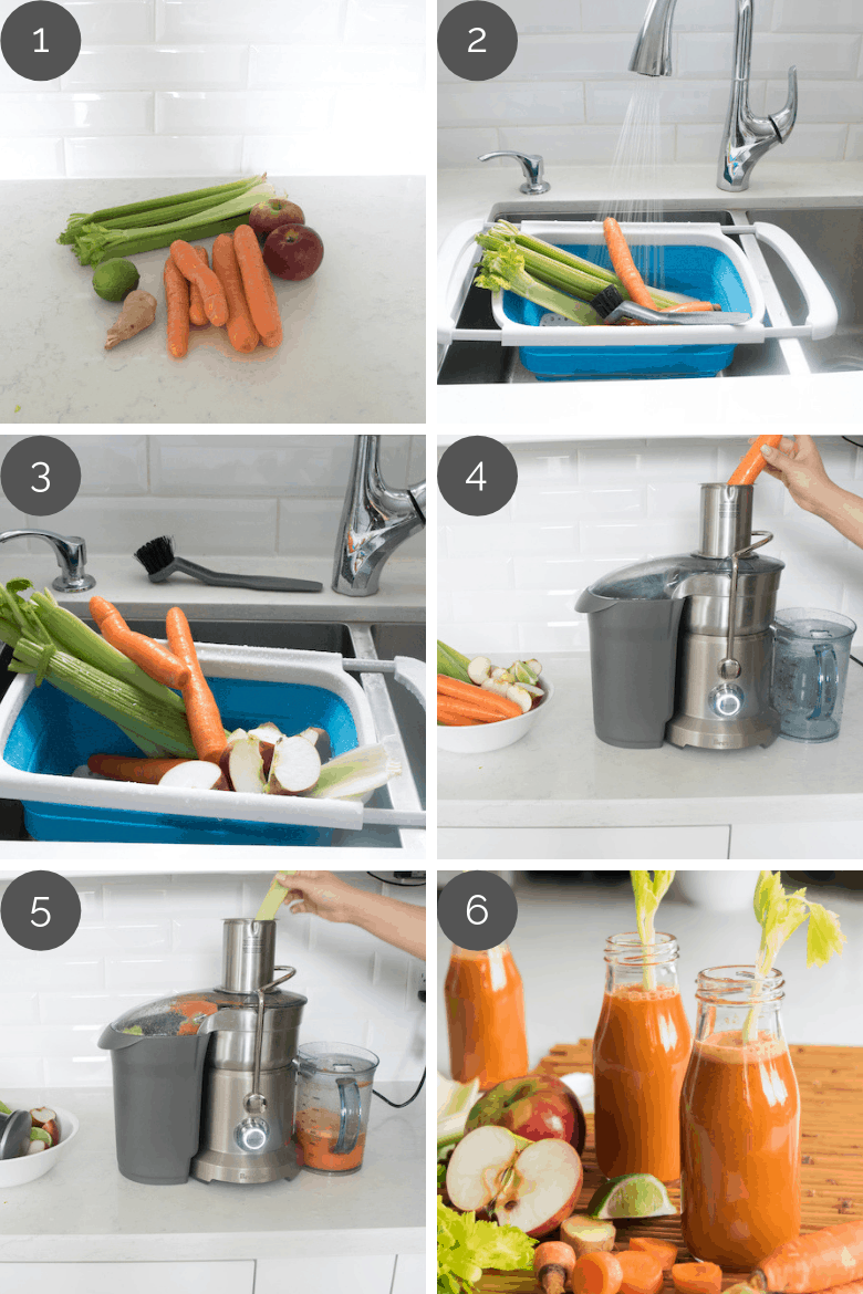 Step by step preparation shots of homemade carrot juice recipe