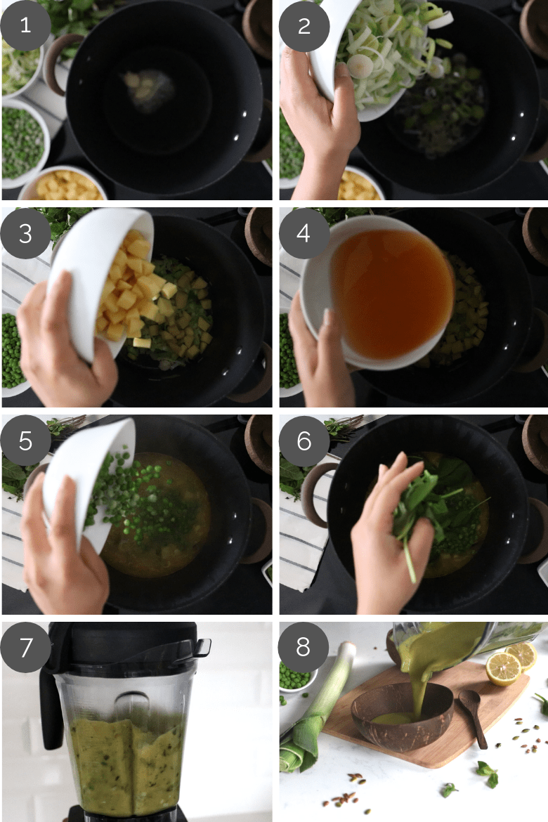 Step by step preparation shots of mint green pea soup