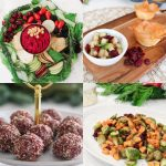 4 holiday recipes, a plant based platter, cranberry balls, filo cups filled with salsa and Brussels sprouts with sweet potatoes and dried cranberries
