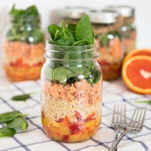 salmon mason jar salad