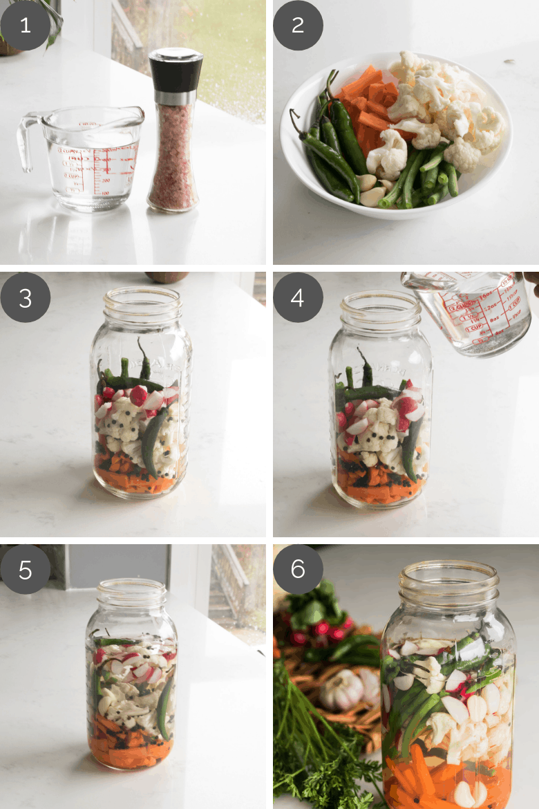 Step by step preparation shots of DIY fermented vegetables recipe
