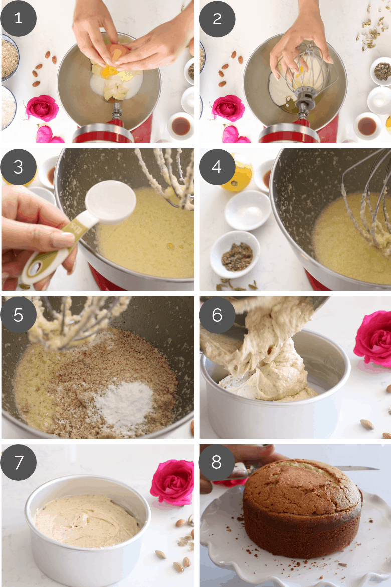 Step by step preparation shots of Persian Love Cake Recipe