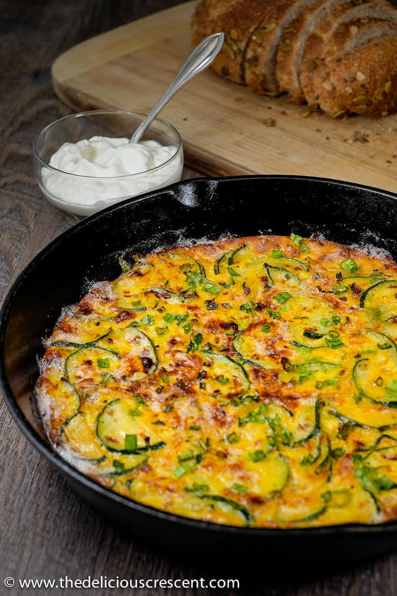 Persian frittata made of zucchini in a pan