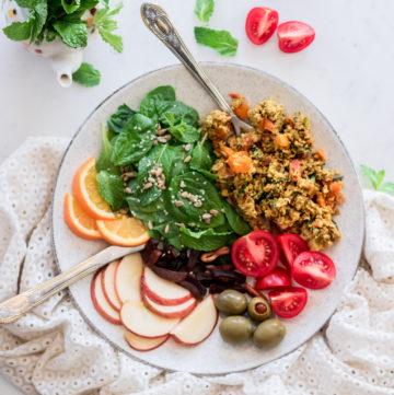 plate of colorful salad with egg bhurji