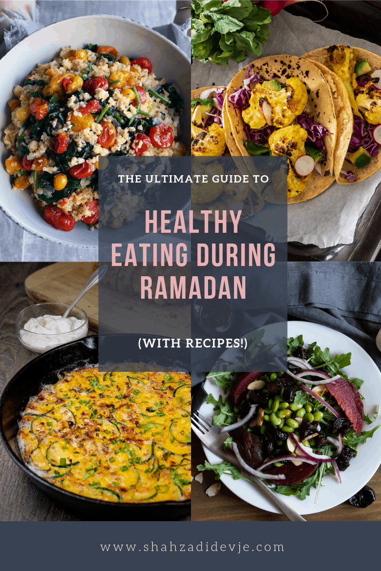 four ramadan recipes including quinoa salad, tacos, frittata and beet salad