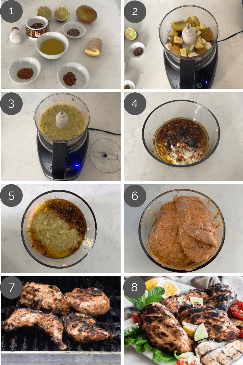 step by step prep shots of how to make grilled tandoori chicken