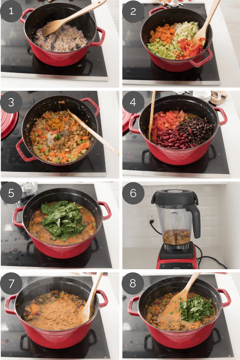 step by step prep shots of how to make superfood vegetarian chili