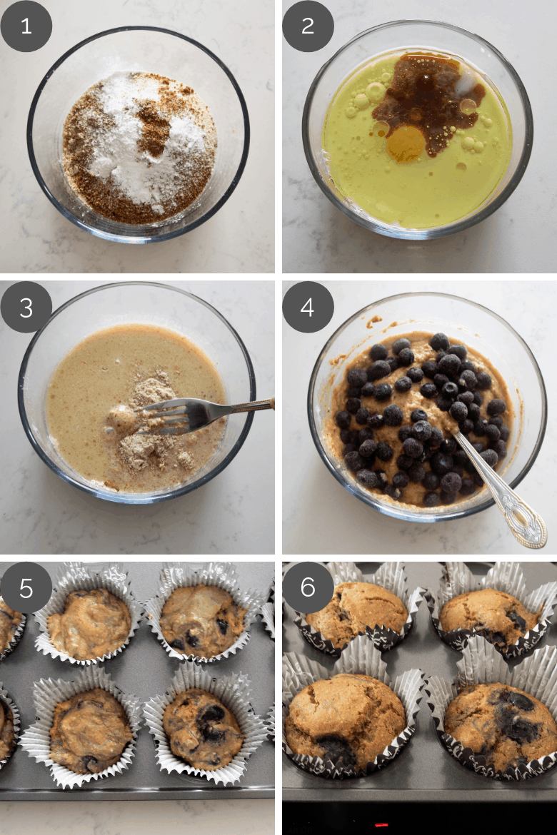 step by step preparation shots of blueberry muffins